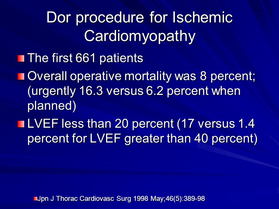 Dor procedure for Ischemic Cardiomyopathy
