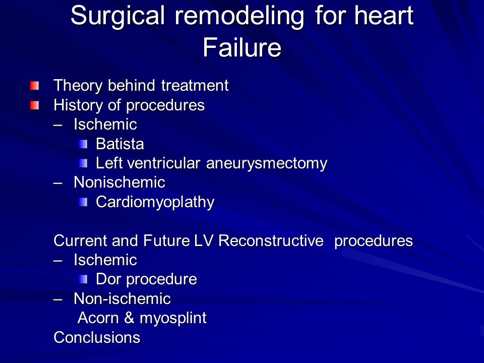 Surgical remodeling for heart Failure