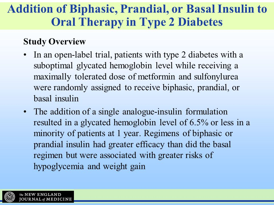 Addition of Biphasic, Prandial, or Basal Insulin to Oral Therapy in Type 2 Diabetes
