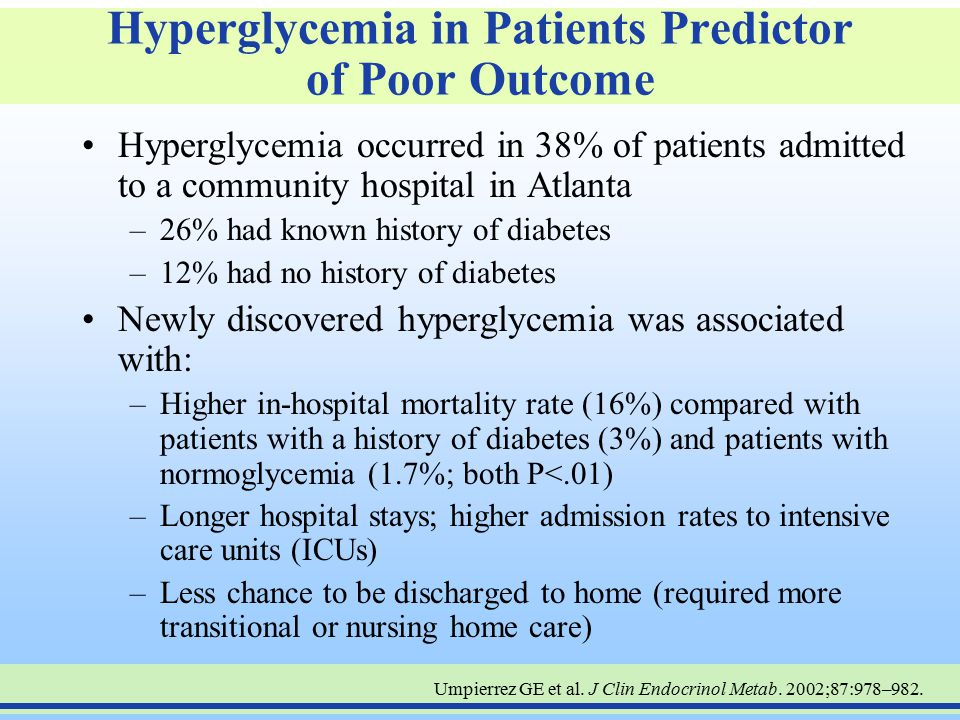 Hyperglycemia in Patients Predictor of Poor Outcome