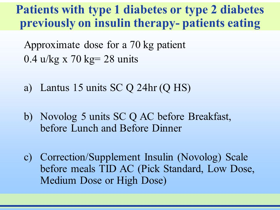 Patients with type 1 diabetes or type 2 diabetes previously on insulin therapy- patients eating