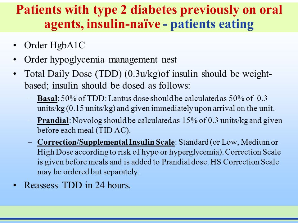Patients with type 2 diabetes previously on oral agents, insulin-naïve - patients eating