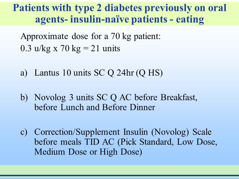 Patients with type 2 diabetes previously on oral agents- insulin-naïve patients - eating