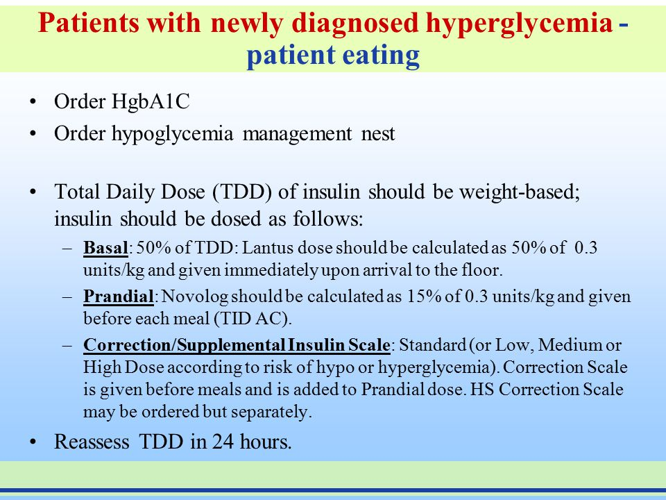 Patients with newly diagnosed hyperglycemia - patient eating