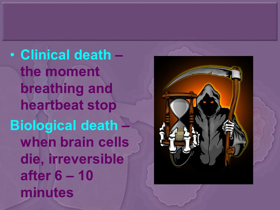 Clinical death – the moment breathing and heartbeat stop