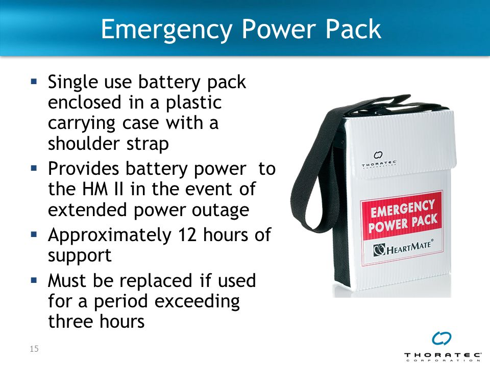 Emergency Power Pack Single use battery pack enclosed in a plastic carrying case with a shoulder strap.