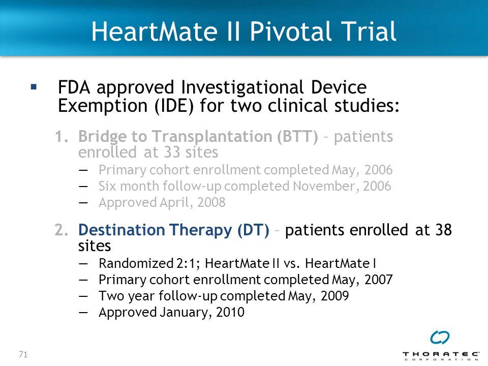 HeartMate II Pivotal Trial