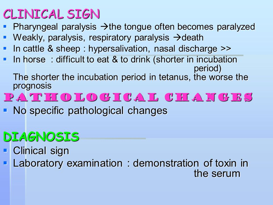 CLINICAL SIGN DIAGNOSIS PATHOLOGICAL CHANGES