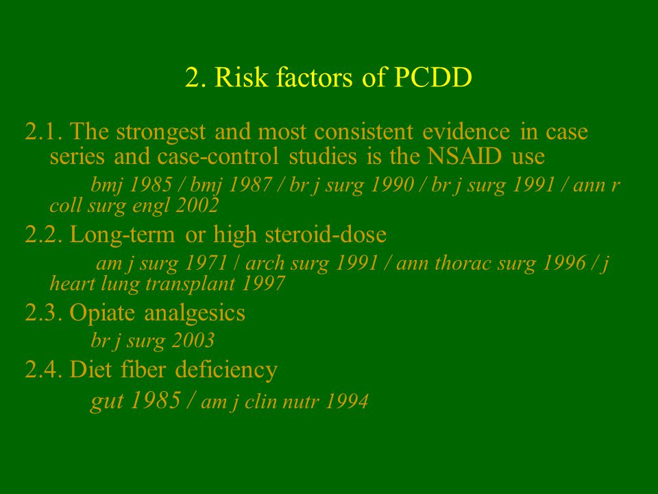 2. Risk factors of PCDD 2.1. The strongest and most consistent evidence in case series and case-control studies is the NSAID use.