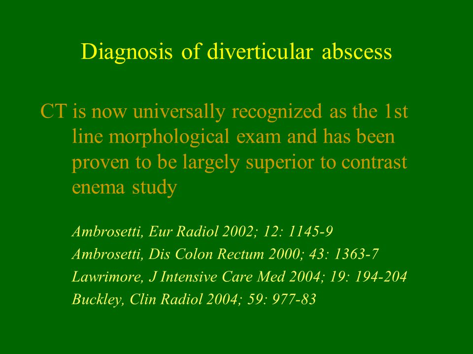 Diagnosis of diverticular abscess