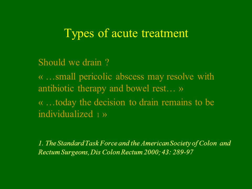 Types of acute treatment