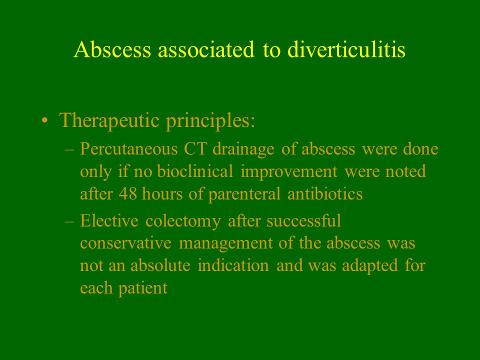 Abscess associated to diverticulitis
