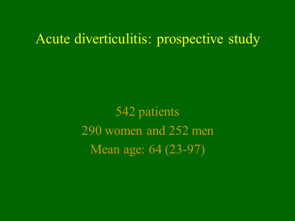 Acute diverticulitis: prospective study