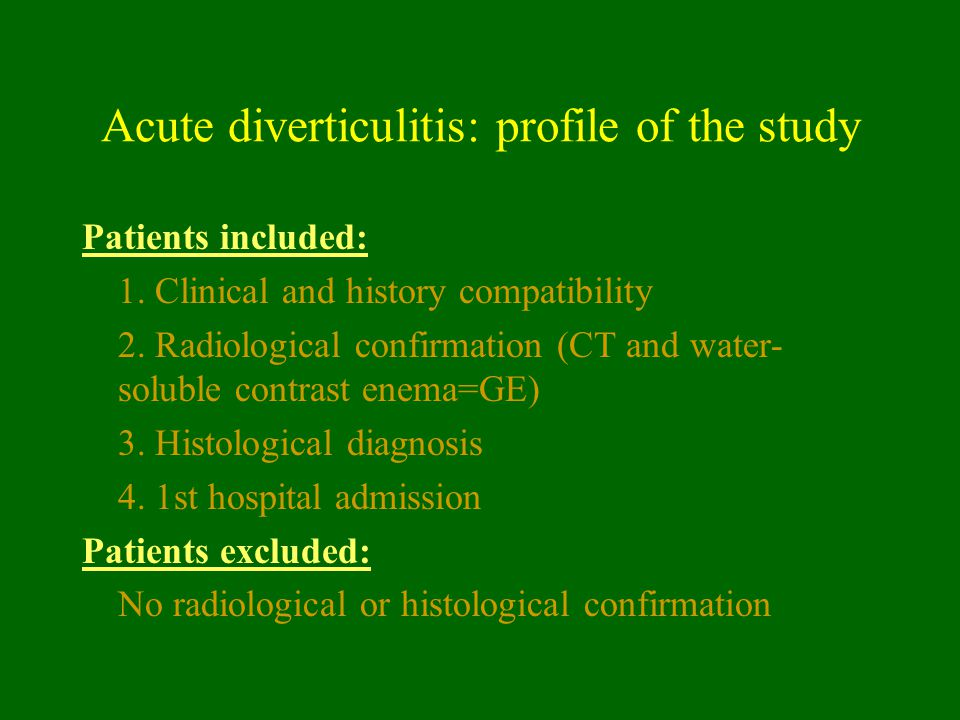 Acute diverticulitis: profile of the study