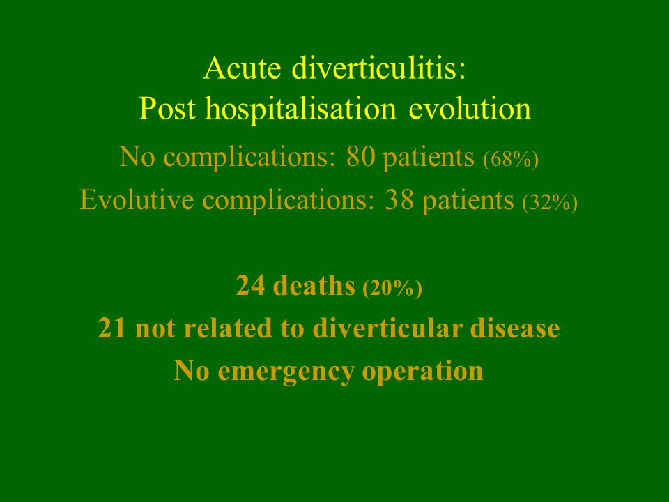 Acute diverticulitis: Post hospitalisation evolution