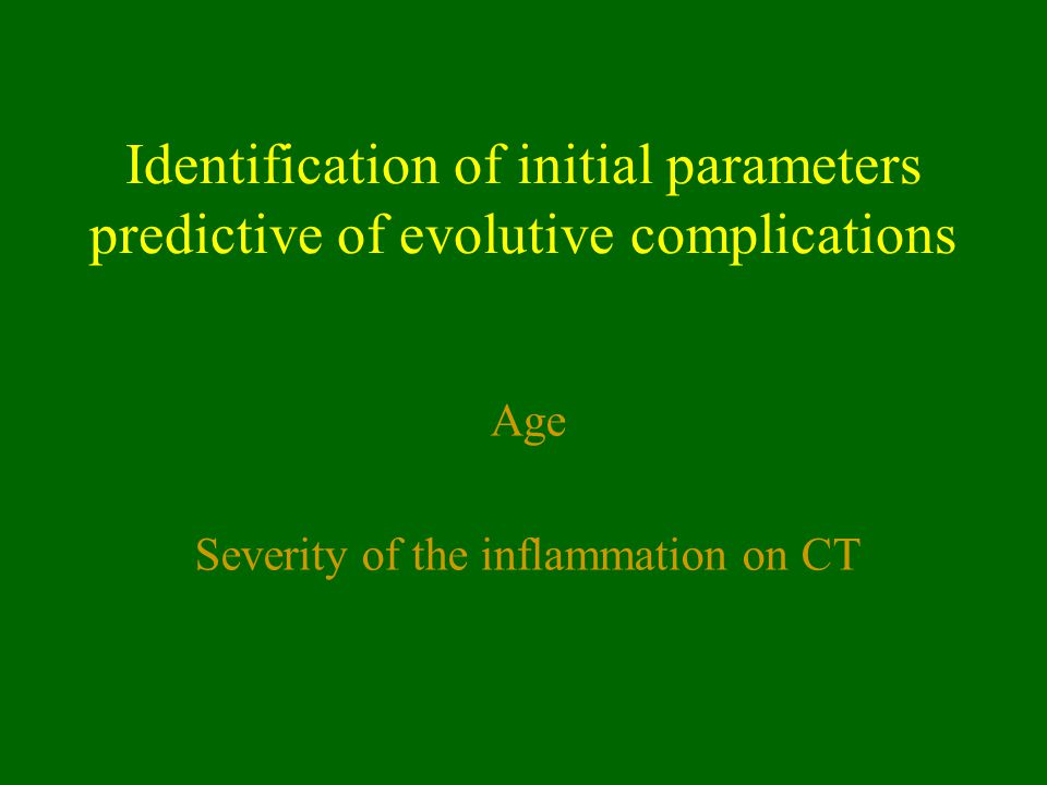 Severity of the inflammation on CT