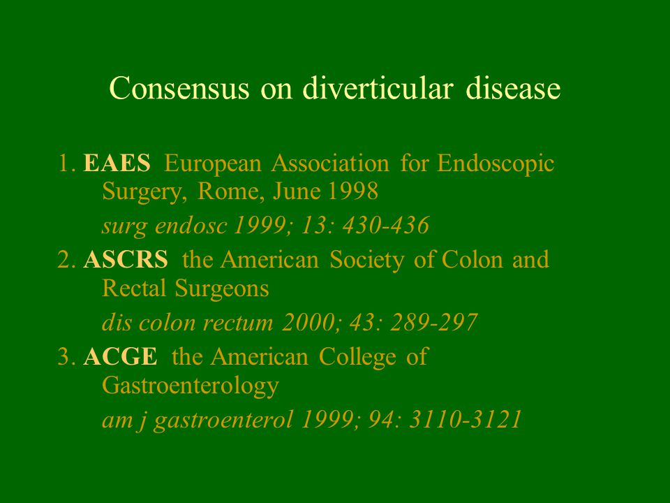 Consensus on diverticular disease