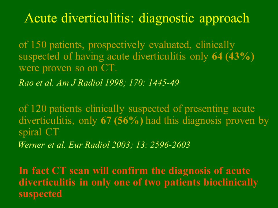 Acute diverticulitis: diagnostic approach