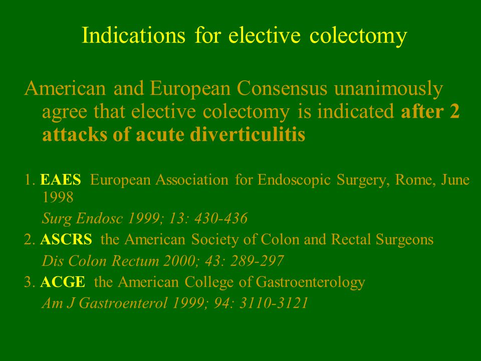 Indications for elective colectomy