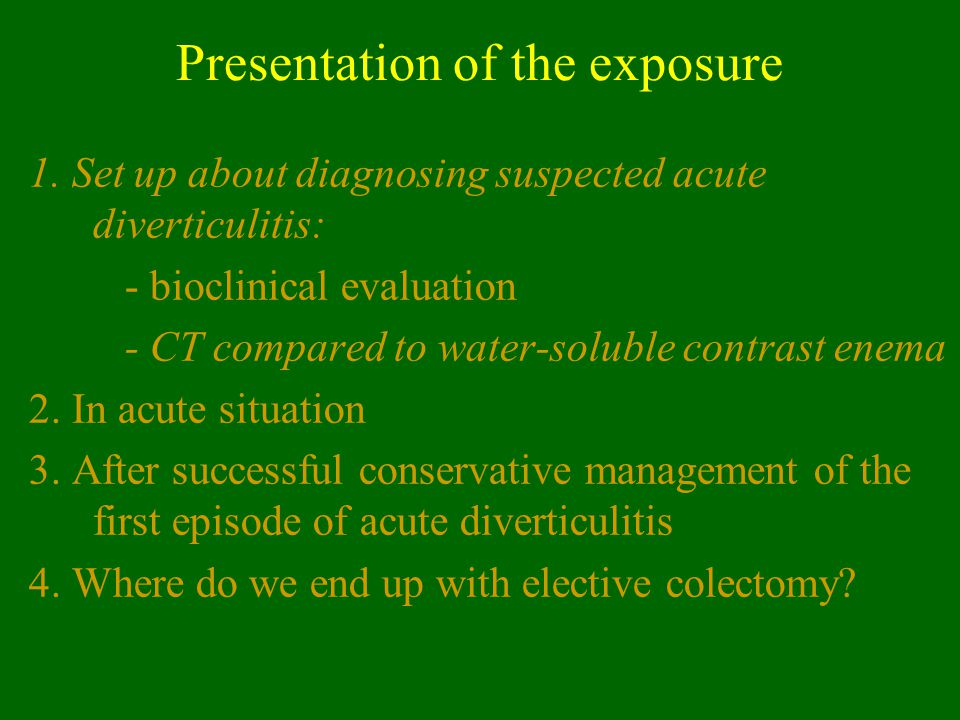 Presentation of the exposure