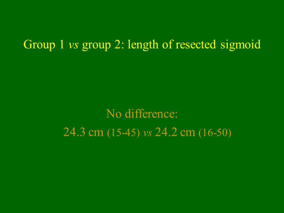 Group 1 vs group 2: length of resected sigmoid