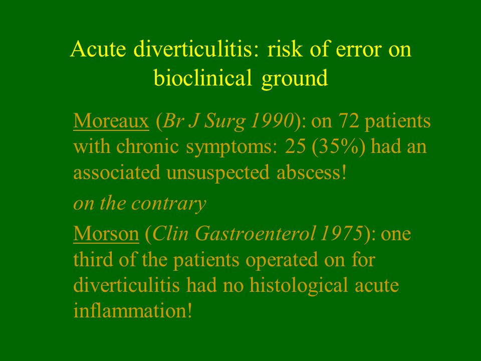Acute diverticulitis: risk of error on bioclinical ground