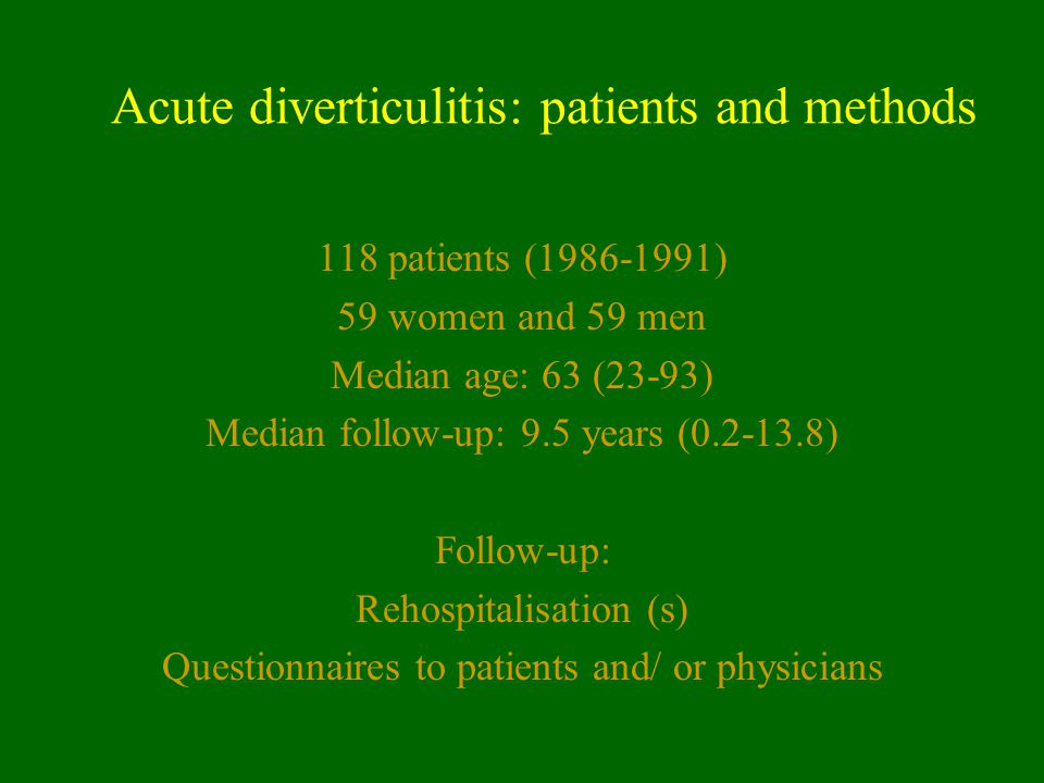 Acute diverticulitis: patients and methods