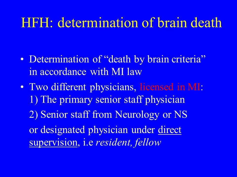 HFH: determination of brain death