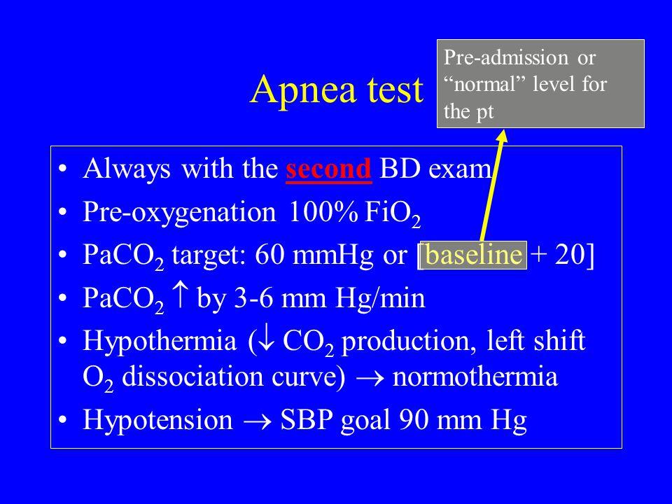 Apnea test Always with the second BD exam Pre-oxygenation 100% FiO2