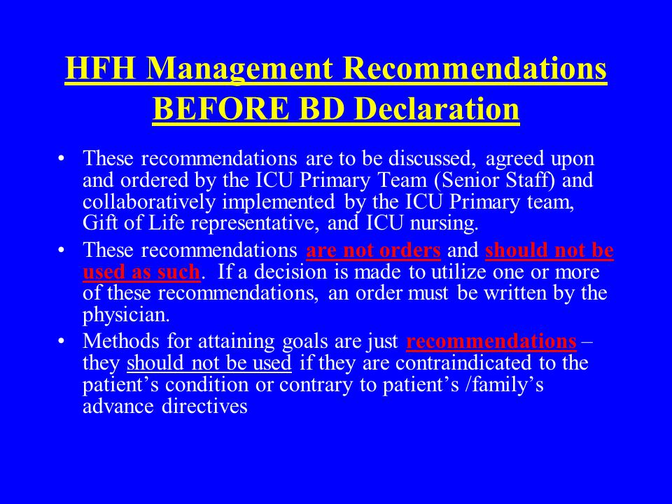 HFH Management Recommendations BEFORE BD Declaration