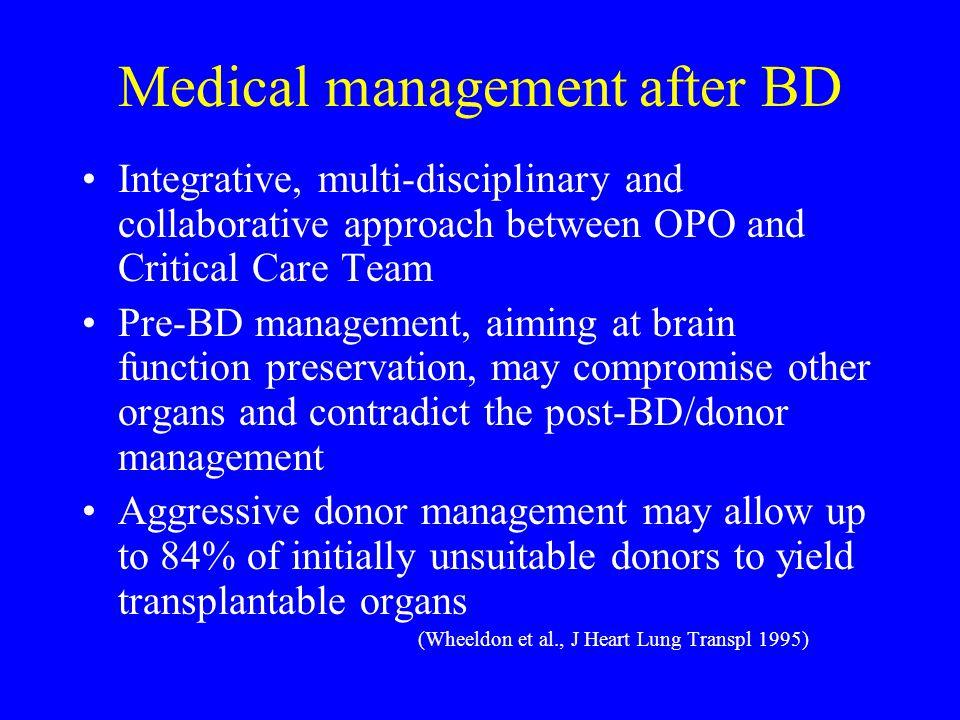 Medical management after BD