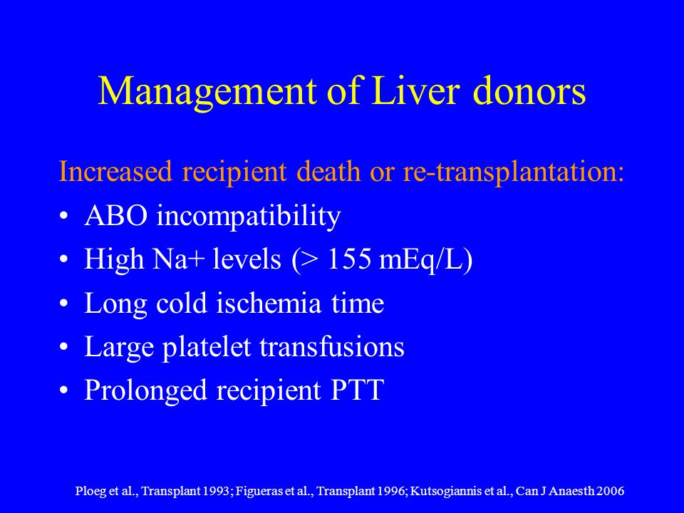 Management of Liver donors