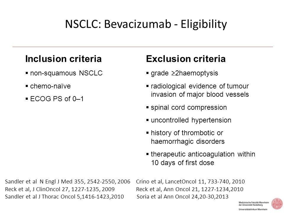 NSCLC: Bevacizumab - Eligibility