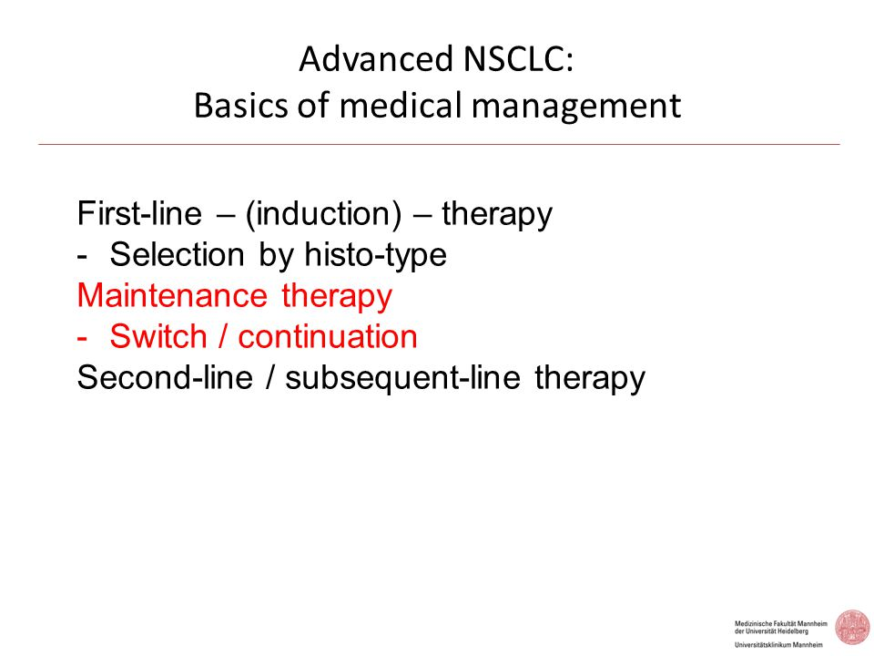 Advanced NSCLC: Basics of medical management