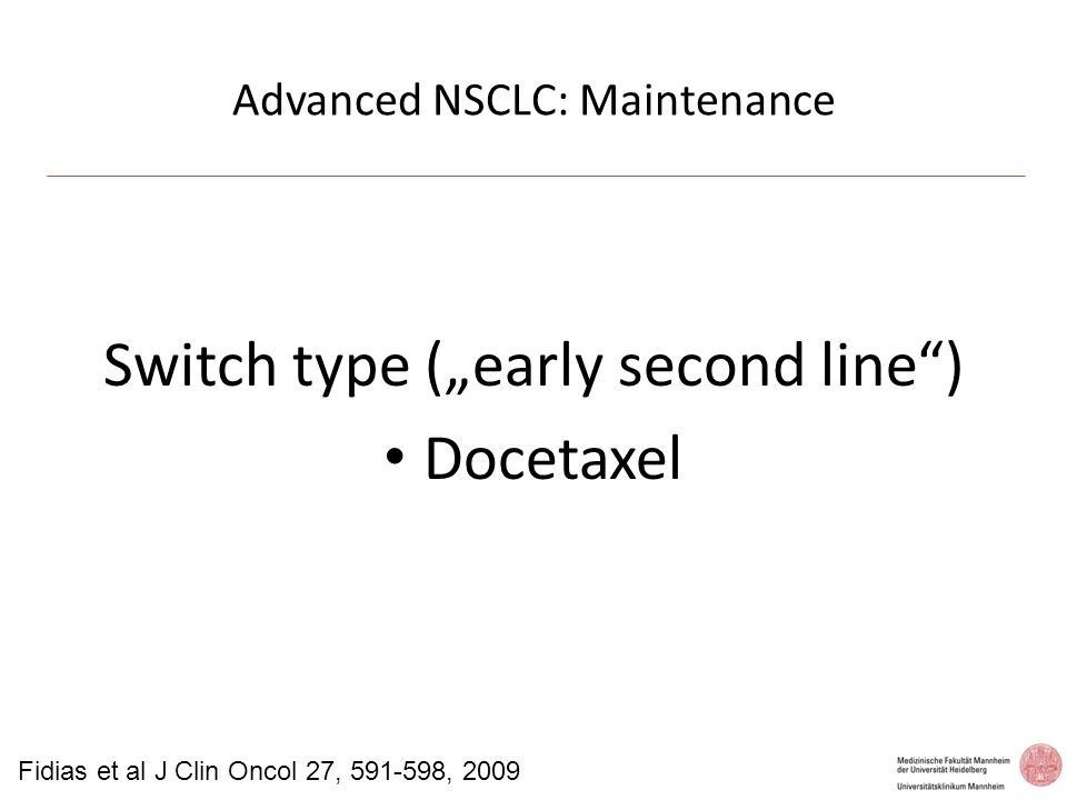 Advanced NSCLC: Maintenance