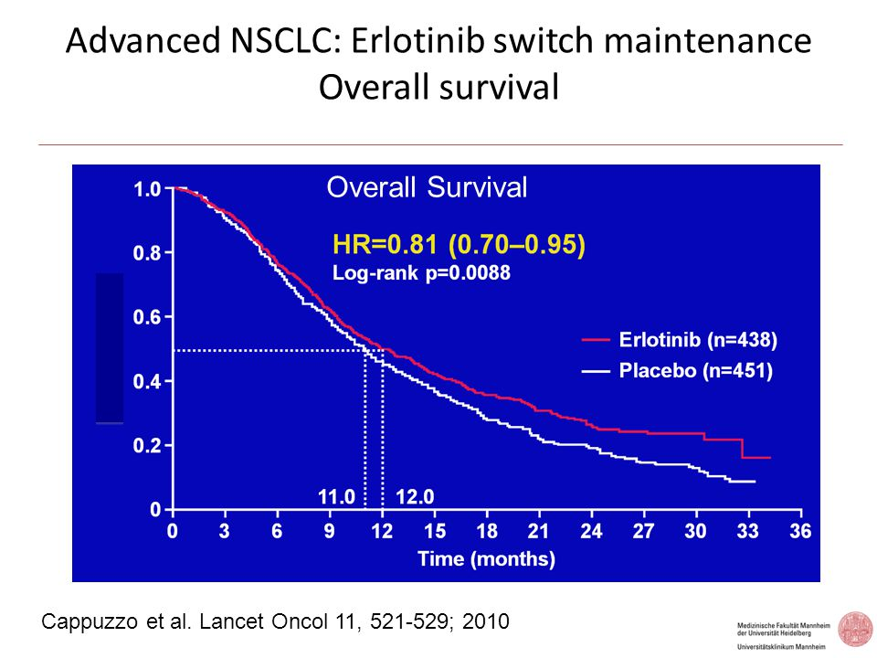 Advanced NSCLC: Erlotinib switch maintenance Overall survival