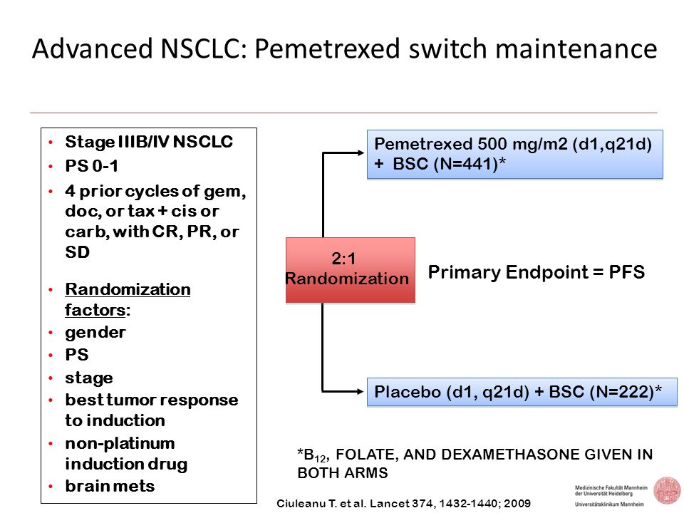 Advanced NSCLC: Pemetrexed switch maintenance