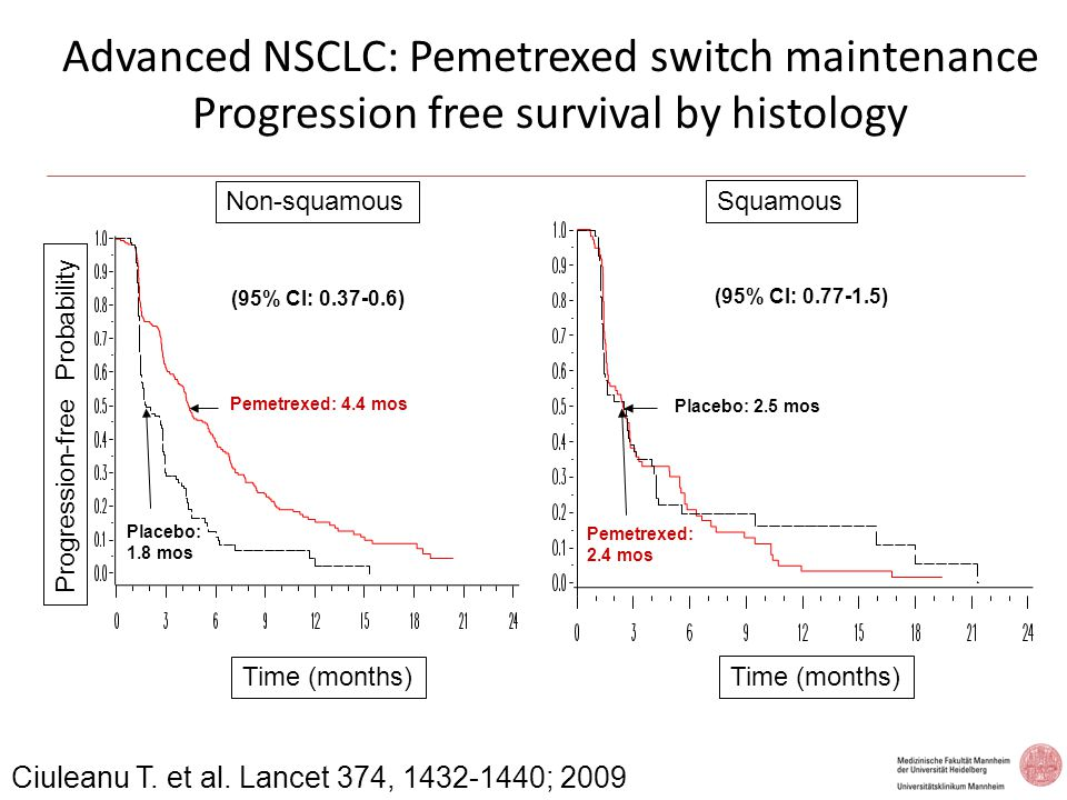 Advanced NSCLC: Pemetrexed switch maintenance Progression free survival by histology