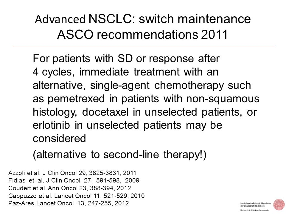 Advanced NSCLC: switch maintenance ASCO recommendations 2011