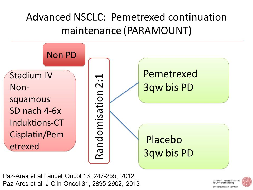 Advanced NSCLC: Pemetrexed continuation maintenance (PARAMOUNT)