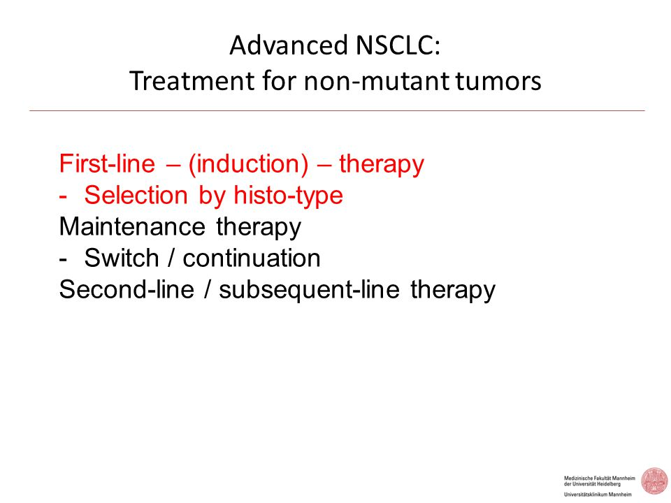 Advanced NSCLC: Treatment for non-mutant tumors