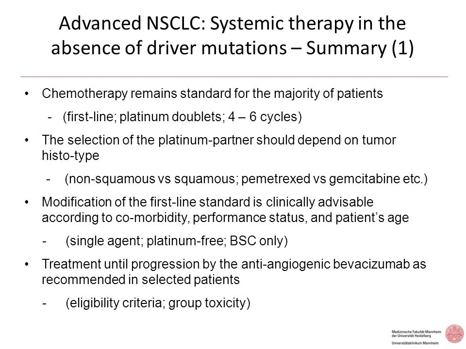 Advanced NSCLC: Systemic therapy in the absence of driver mutations – Summary (1)