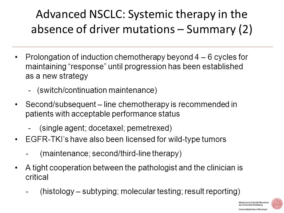 Advanced NSCLC: Systemic therapy in the absence of driver mutations – Summary (2)