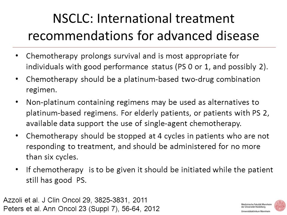 NSCLC: International treatment recommendations for advanced disease