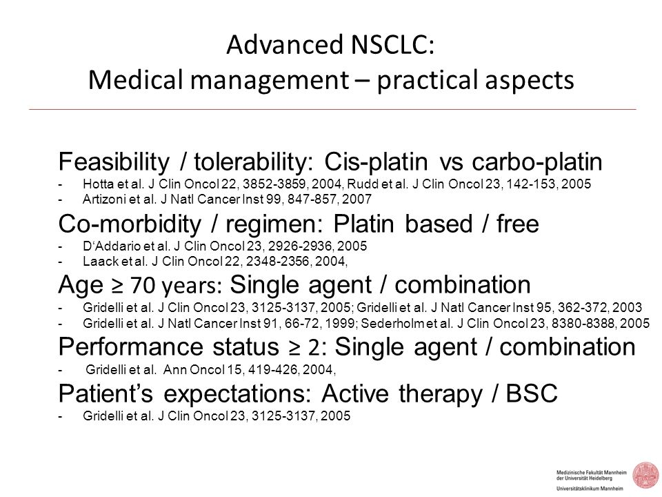 Advanced NSCLC: Medical management – practical aspects