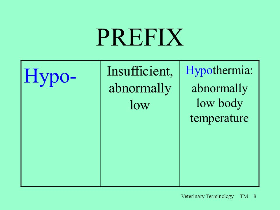 PREFIX Hypo- Insufficient, abnormally low Hypothermia: