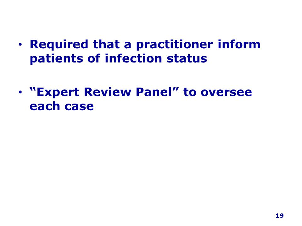 Required that a practitioner inform patients of infection status