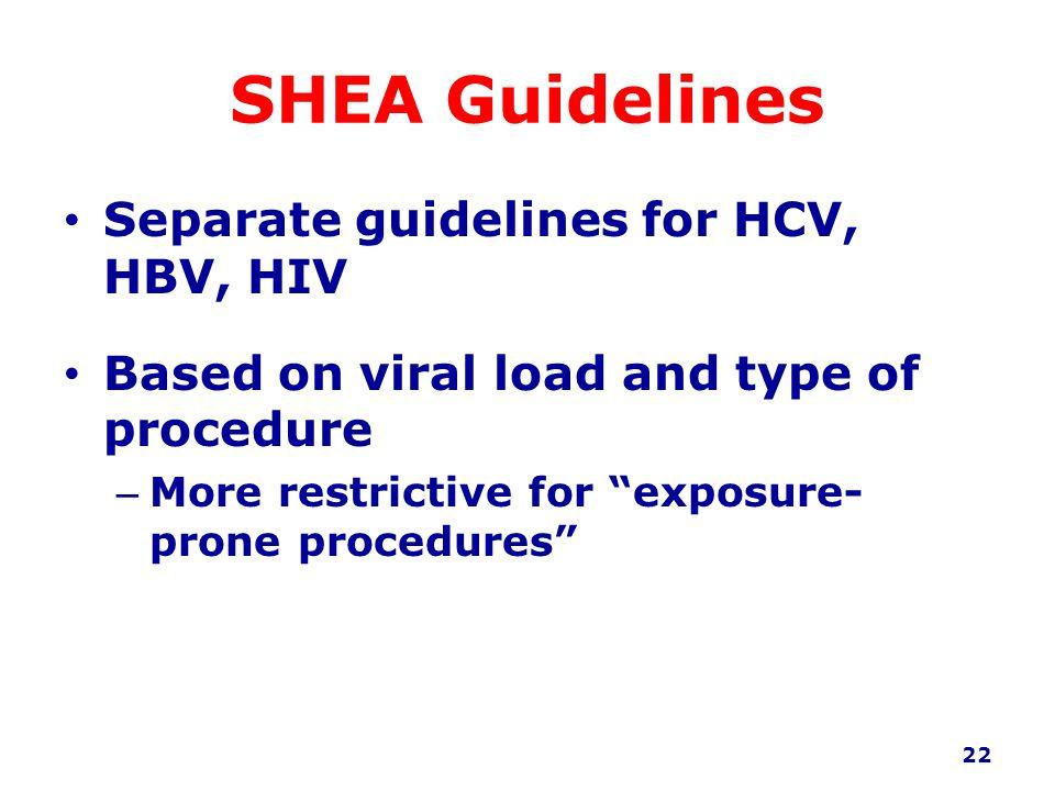 SHEA Guidelines Separate guidelines for HCV, HBV, HIV