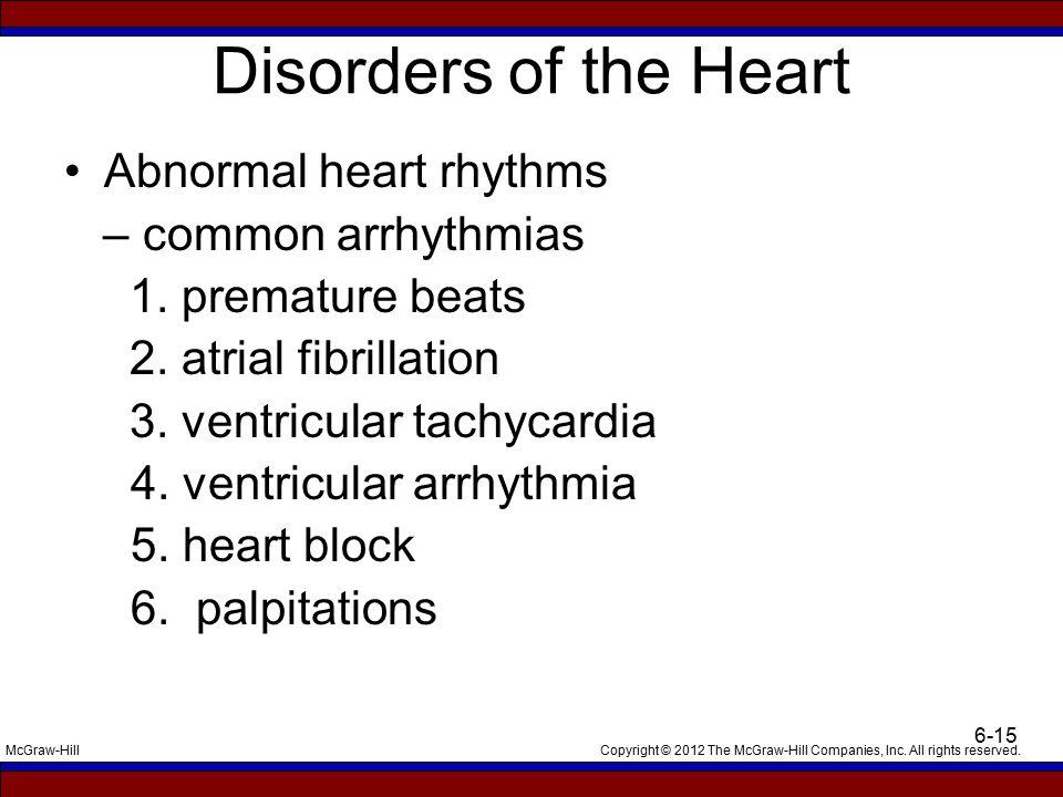 Disorders of the Heart Abnormal heart rhythms – common arrhythmias