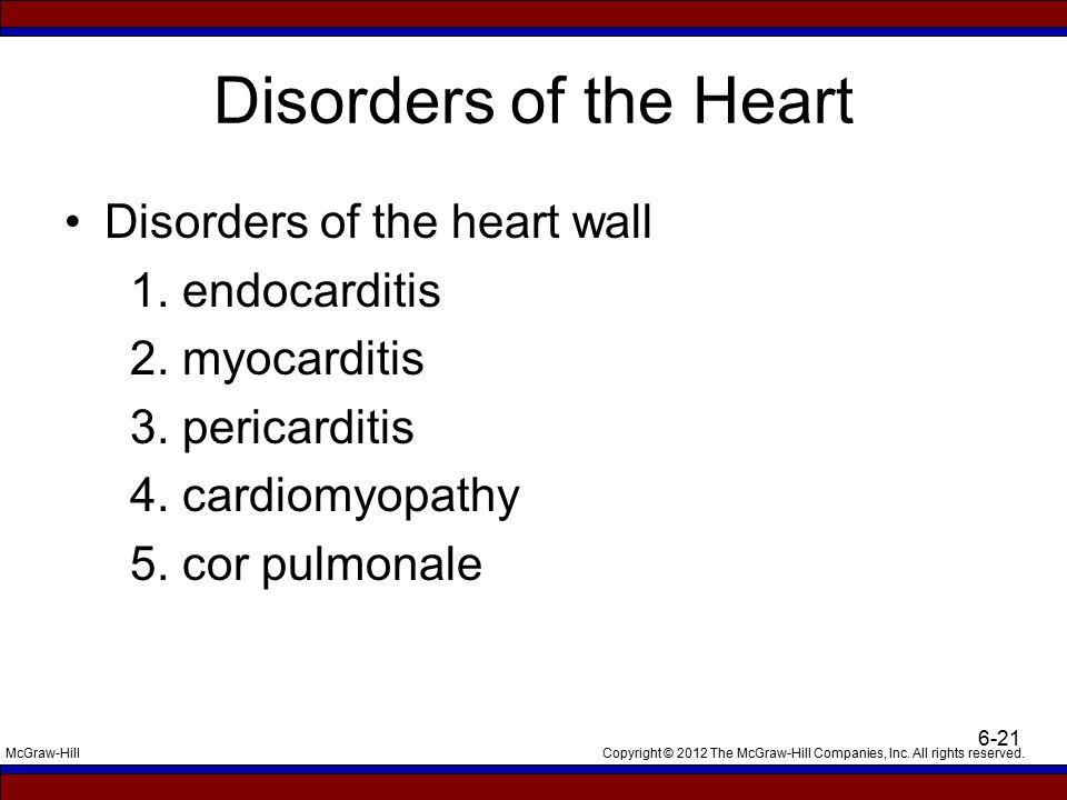Disorders of the Heart Disorders of the heart wall 1. endocarditis